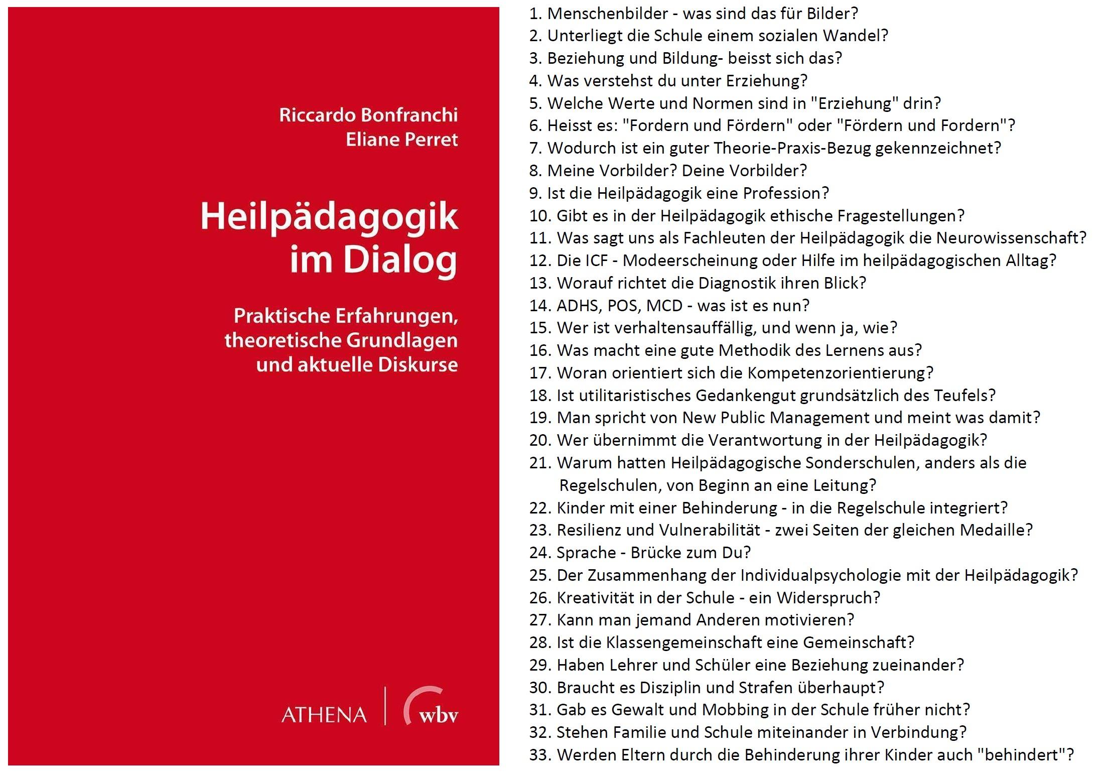 Neuerscheinung: Heilpädagogik im Dialog von Riccardo Bonfranchi und Eliane Perret