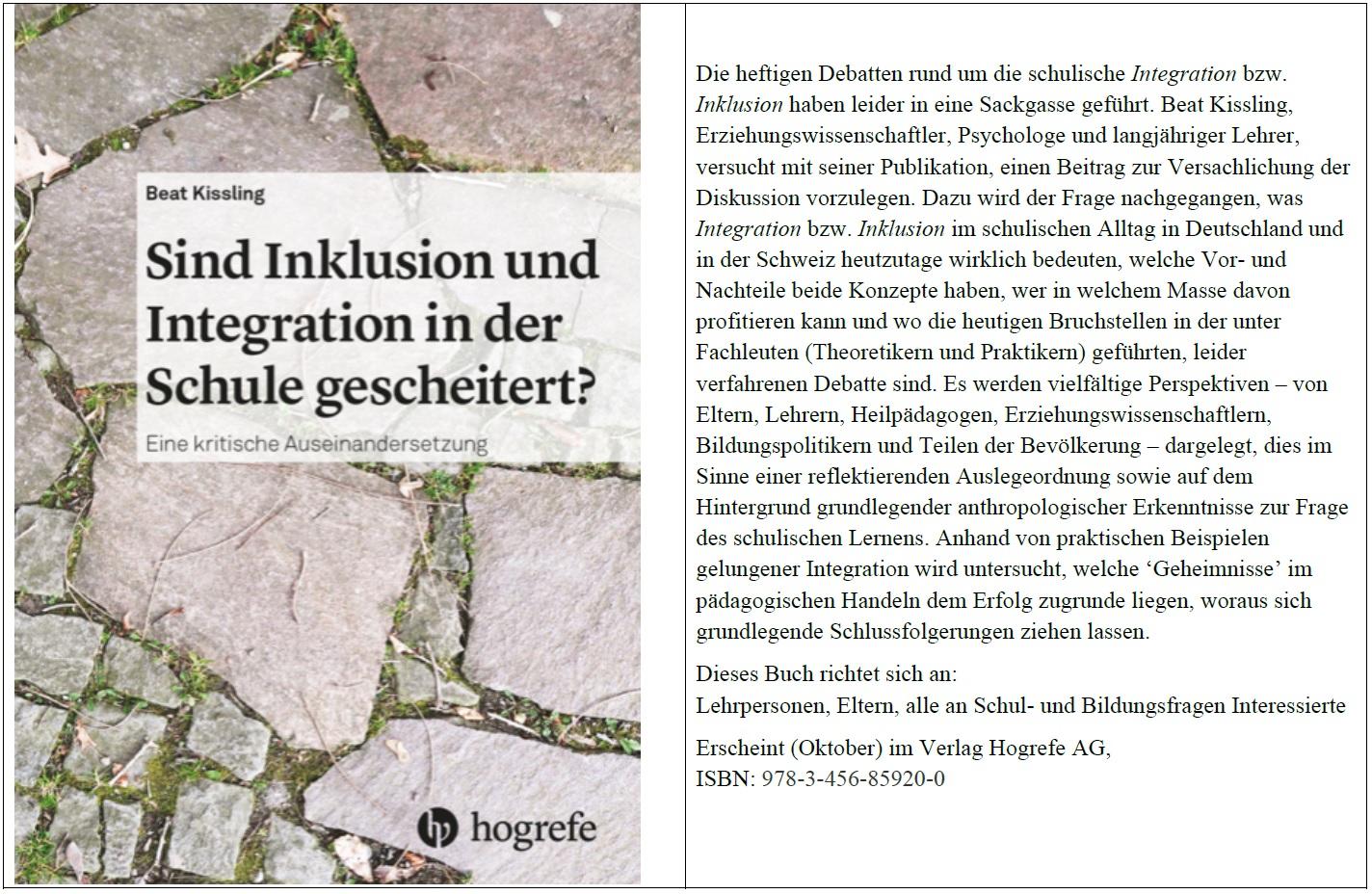 Hinweis auf eine Neuerscheinung: Sind Inklusion und Integration in der Schule gescheitert? Beat Kissling